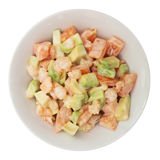 Salad of avocado, tomatoes and shrimp Stock Photo