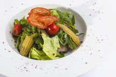 Salad with baby corn. And greens Royalty Free Stock Image