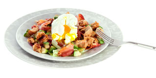 Salad with bacon, avocado and egg Stock Photos