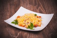 Salad with bacon, crouton and cheese Royalty Free Stock Photo