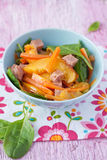 Salad with bacon and nectarines Royalty Free Stock Photo