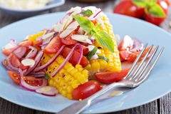 Salad with baked corn Stock Photo