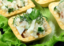 Salad in a baked tartlet Royalty Free Stock Photography