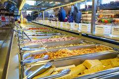 Salad bar. Bainbridge, WA, USA Feb. 11, 2017: Self-serve salad bar in upscale grocery store with a variety of freash vegetables Royalty Free Stock Photography