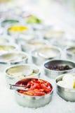 Salad bar buffet fresh mixed vegetables display Stock Image