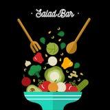 Salad bar concept with healthy vegetable food vector illustration