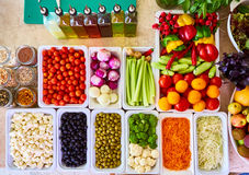 Salad Bar Fresh Vegetables sliced Top view Tomato Carrot Celery Cucumber Cherry tomato Sweet pepper. Stock Photos