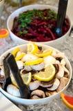 Salad bar with raw mushrooms Royalty Free Stock Image