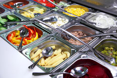 Salad bar with vegetables Stock Images