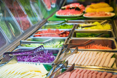 Salad bar with vegetables for breakfast Stock Images