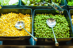 Salad bar with vegetables in the restaurant Royalty Free Stock Photography