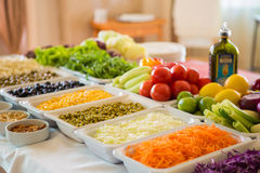 Salad bar with vegetables in the restaurant Royalty Free Stock Photo