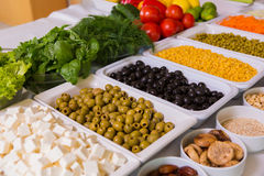 Salad bar with vegetables in the restaurant Stock Photography