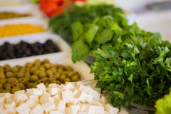 Salad bar with vegetables in the restaurant Royalty Free Stock Images