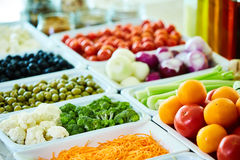 Salad bar with vegetables in the restaurant, healthy food Stock Photo