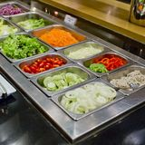 Salad bar with vegetables in the restaurant, healthy food Stock Photography