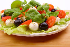 Salad with basil, mozzarella, olives and tomato Stock Image