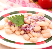Salad of beans. A fresh salad of white beans with red onions royalty free stock photography