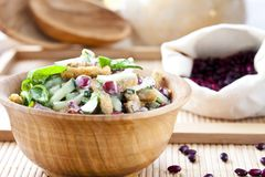 Salad with beans, bacon, cucumber and croutons. Salad with beans, bacon, cucumber and rye croutons Royalty Free Stock Photography