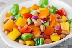Salad with beans bell pepper and tomato Stock Image
