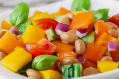 Salad with beans bell pepper and tomato Stock Photo