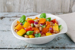 Salad with beans bell pepper and tomato Stock Photography