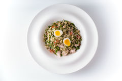 Salad with beans, chicken and quail eggs. Horizontal Royalty Free Stock Photography