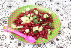 Salad of beans. A salad of beans with cucumber royalty free stock photo