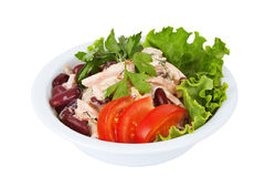 Salad with beans, mayonnaise, meat and tomatoes Royalty Free Stock Image