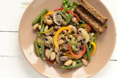 Salad with beans, mushrooms and bell peppers Stock Photography