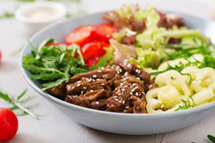 Salad with beef teriyaki and fresh vegetables Stock Images