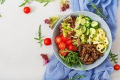 Salad with beef teriyaki and fresh vegetables Stock Photo