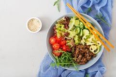 Salad with beef teriyaki and fresh vegetables Stock Photography