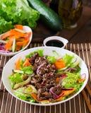 Salad with beef teriyaki Stock Photography