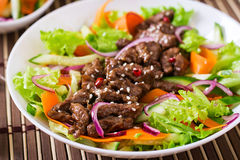 Salad with beef teriyaki Royalty Free Stock Image
