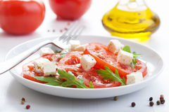 Salad with beef tomatoes and feta Royalty Free Stock Images