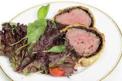 Salad with beef wellington Royalty Free Stock Photos