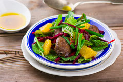 Salad with beet and a chicken liver on Stock Photo