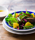 Salad with beet and a chicken liver on Stock Image
