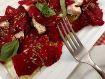 Salad with beet, feta and dry tuna Royalty Free Stock Photo