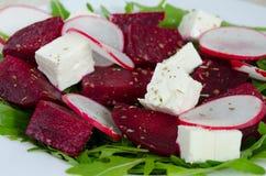Salad of beet, radish, rucola and cheese Stock Image