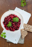 Salad with beetroot, potatoes, pickled cucumber and green peas Stock Images