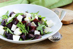 Salad with beetroot and soft feta cheese Stock Photos