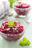 Salad from beetroot and walnuts Royalty Free Stock Images
