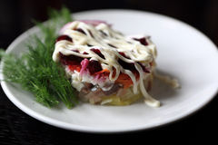 Salad with beets and herring Stock Images