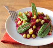 Salad with beets, peas, cucumber Royalty Free Stock Photos