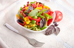 Salad from bell pepper and basil Stock Images