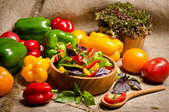 Salad from bell pepper and basil in a wooden bowl and tomato Royalty Free Stock Images