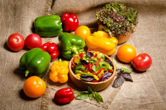 Salad from bell pepper and basil in a wooden bowl Stock Images