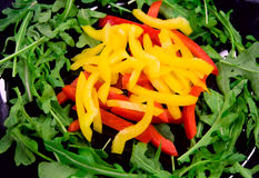 Salad with bell peppers and ruccola. Salad with bell peppers and rucola Royalty Free Stock Images